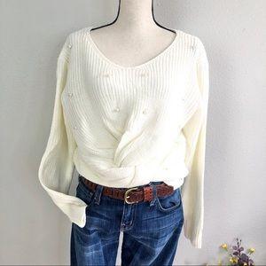 Pearl Beaded Twist Knot Tied Sweater Cream